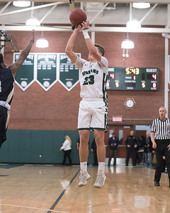 Maloney's Elliot Good hits a three point shot Tuesday at Maloney High School in Meriden February 19, 2019 | Justin Weekes / Special to the Record-Journal