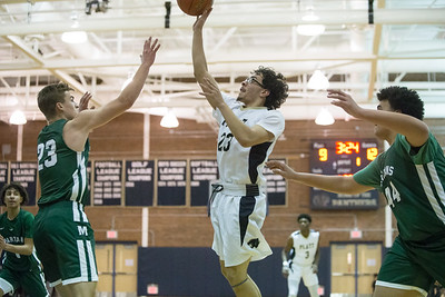 Platt's Anthony Lorenzo puts up a running jumper Friday at Platt High School in Meriden January 18, 2019 | Justin Weekes / Special to the Record-Journal