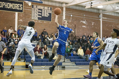 Southington's Ryan Gesnaldo puts in a layup Tuesday at Platt High School in Meriden January 22, 2019 | Justin Weekes / Special to the Record-Journal