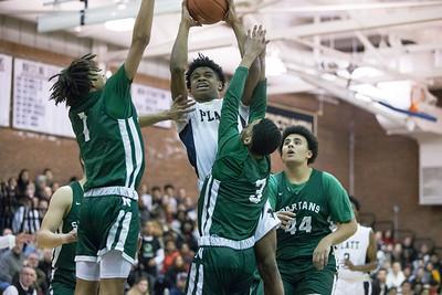 Platt's Tremayne Carter  drives to the basket Friday at Platt High School in Meriden January 18, 2019 | Justin Weekes / Special to the Record-Journal