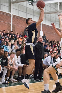 Platt's Brian Acosta puts up a three point shot Tuesday at Maloney High School in Meriden February 19, 2019 | Justin Weekes / Special to the Record-Journal