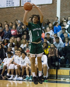 Maloney's Jeremiah Williams hits a jump shot Friday at Platt High School in Meriden January 18, 2019 | Justin Weekes / Special to the Record-Journal
