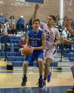 Southington's Adam Hunter  puts in a layup Tuesday at Platt High School in Meriden January 22, 2019 | Justin Weekes / Special to the Record-Journal