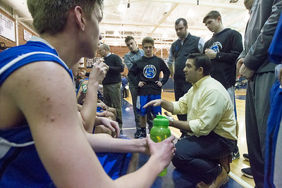 Southington's head coach John Cessario talks with players during the first break Tuesday at Platt High School in Meriden January 22, 2019 | Justin Weekes / Special to the Record-Journal