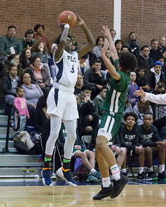 Platt's Malcolm Andrews hits a three point shot Friday at Platt High School in Meriden January 18, 2019 | Justin Weekes / Special to the Record-Journal