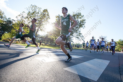 Maloney, Platt and Wilcox Tech boys leave from the start Tuesday at Hubbard Park in Meriden October 10, 2017 | Justin Weekes / For the Record-Journal