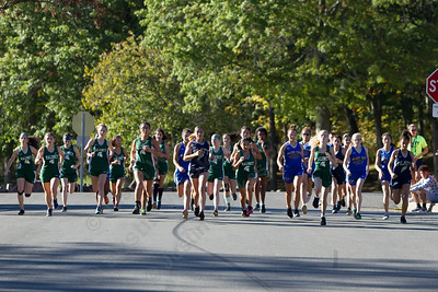 Maloney Platt and Wilcox Tech girls leave from the start Tuesday at Hubbard Park in Meriden October 10, 2017 | Justin Weekes / For the Record-Journal