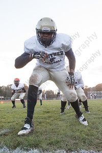 Platt's Andre Barnes runs through an offensive drill Wednesday as the Panthers prepare for the Stoddard Bowl at Platt High School in Meriden November 15, 2017 | Justin Weekes / For the Record-Journal