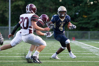 Platt's EJ Dudley looks to turn up field Friday during the season opener at Falcon Field in Meriden Sep. 8, 2017   Justin Weekes / For the Record-Journal
