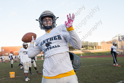 Platt's AJ Marinelli looks for a receiver Wednesday as the Panthers prepare for the Stoddard Bowl at Platt High School in Meriden November 15, 2017 | Justin Weekes / For the Record-Journal