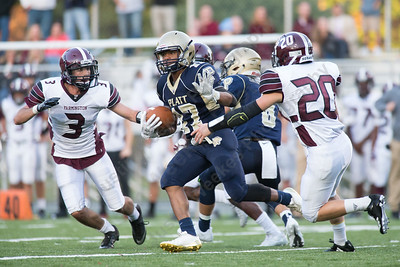 Platt's Devon Gardner adds some yards after a reception Friday during the season opener at Falcon Field in Meriden Sep. 8, 2017 Platt defeated Farmington 42 to 7.   Justin Weekes / For the Record-Journal