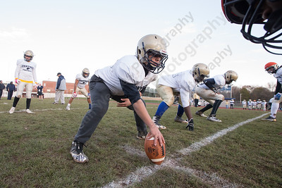 Platt's Nehemiah Vargas gets ready to snap Wednesday as the Panthers prepare for the Stoddard Bowl at Platt High School in Meriden November 15, 2017 | Justin Weekes / For the Record-Journal