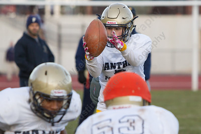 Platt's AJ Marinelli takes the snap Wednesday as the Panthers prepare for the Stoddard Bowl at Platt High School in Meriden November 15, 2017 | Justin Weekes / For the Record-Journal