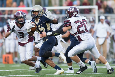 Platt's Devon Gardner adds some yards after a reception Friday during the season opener at Falcon Field in Meriden Sep. 8, 2017   Justin Weekes / For the Record-Journal