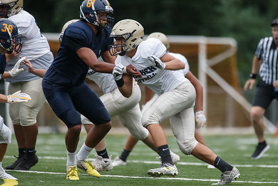 Platt's Joshua Rodriguez Friday during a pre-season scrimmage with Simsbury at Falcon Field in Meriden August 31, 2018 | Justin Weekes / Special to the Record-Journal