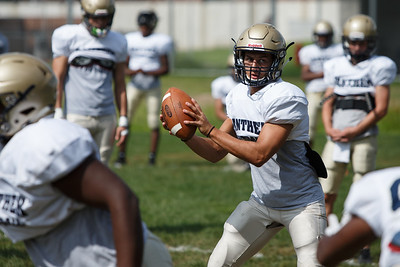 Platt's Lorenzo Sanson Monday during practice at Platt High School in Meriden August 20, 2018 | Justin Weekes / Special to the Record-Journal