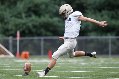 Platt's Joey Salafia kick off Friday during a pre-season scrimmage with Simsbury at Falcon Field in Meriden August 31, 2018 | Justin Weekes / Special to the Record-Journal