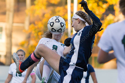Platt's Julia Misner and Maloney's Olivia Bischoff challenge fro possession Monday at Falcon Field in Meriden October 30, 2017 | Justin Weekes / For the Record-Journal