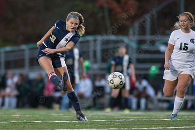 Platt's Elizabeth Garlock gets a shot off on goal Monday at Falcon Field in Meriden October 30, 2017 | Justin Weekes / For the Record-Journal