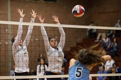 Platt's Vanessa Isyk (2) and Kiara Lopez (16) jump to block East Catholic's Reagan Bousquet (5) Monday at Platt High School in Meriden Nov. 2, 2015 | Justin Weekes / For the Record-Journal