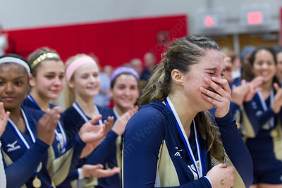 Platt's Gabriela Vazquez reacts to her being chosen MVP Saturday during the class L state final at Berlin High School in Berlin Nov. 21, 2015 | Justin Weekes / For the Record-Journal