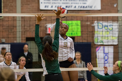 Platt's Destiny West (9) gets a touch past Maloney's Adelaide Hatcher (9) Monday at Platt High School in Meriden Oct. 26, 2015 | Justin Weekes / For the Record-Journal