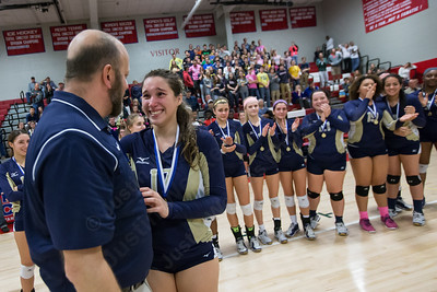 Platt's Gabriela Vazquez accepts the MVP award from coach Lou Gianacopolos Saturday during the class L state final at Berlin High School in Berlin Nov. 21, 2015 | Justin Weekes / For the Record-Journal