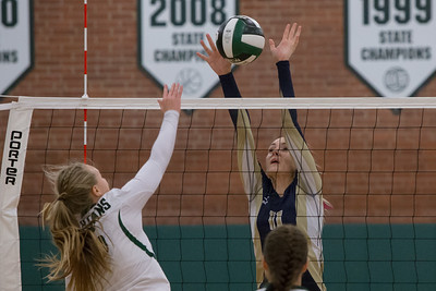 Platt's Jennifer Rita blocks Maloney's Anna Hendrickson Monday at Maloney High School in Meriden October 2, 2017 | Justin Weekes / For the Record-Journal
