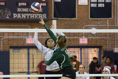 Maloney's Melanie Polanco gets a touch past Platt's Kiara Lopez Thursday at Platt High School in Meriden October 26, 2017 | Justin Weekes / For the Record-Journal