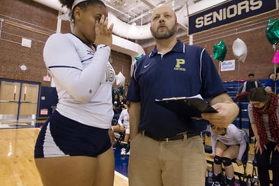 Platt's head coach Lou Gianacopolos talks with Kiara Lopez Thursday at Platt High School in Meriden October 26, 2017 | Justin Weekes / For the Record-Journal