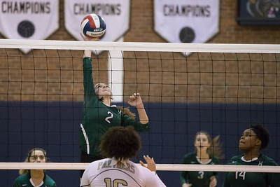 Maloney's Carly Massicotte gets a touch over for a kill Thursday at Platt High School in Meriden October 26, 2017 | Justin Weekes / For the Record-Journal