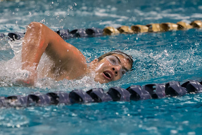 Meriden Co op's Julio Hernandez swims the 200 freestyle Friday at Platt High School in Meriden Feb. 19, 2016 | Justin Weekes / For the Record-Journal