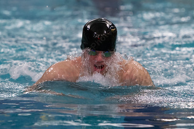 Meriden Co op's Preston Lewis swims the breast stroke in the 200 medley relay Friday at Platt High School in Meriden Feb. 19, 2016 | Justin Weekes / For the Record-Journal