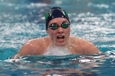 Meriden Co op's Dan Coleman swims the breast stroke in the 200 individual medley Friday at Platt High School in Meriden Feb. 19, 2016 | Justin Weekes / For the Record-Journal