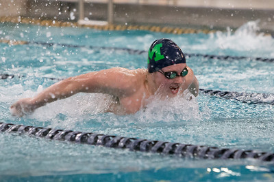 Meriden Co op's Dan Coleman swims the butterfly in the 200 individual medley Friday at Platt High School in Meriden Feb. 19, 2016 | Justin Weekes / For the Record-Journal