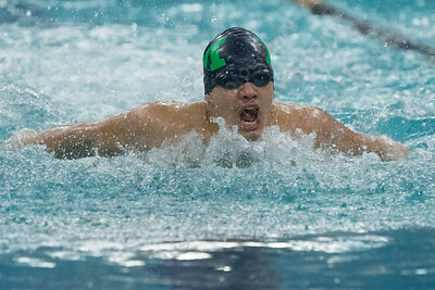 Meriden's Julio G Hernandez in the 200 individual medley Tuesday at Platt High School in Meriden January 16, 2018 | Justin Weekes / Special to the Record-Journal