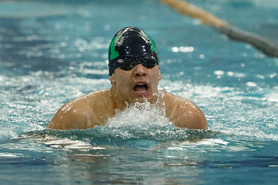 Meriden co-op's Julio G Hernandez swims the breast stroke in the 200 medley relay Tuesday at the Platt High School Natatorium in Meriden February 6, 2018 | Justin Weekes / Special to the Record-Journal