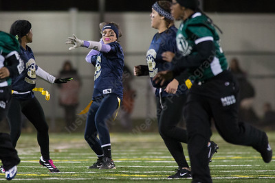 Platt's Vanessa Isyk drops back to pass Monday during the Meriden Powder Puff game at Falcon Field in Meriden. Platt defeated Maloney 35 to 31. November 20, 2017 | Justin Weekes / For the Record-Journal