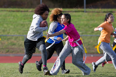 Platt's Taliyal Gillespie returns a punt Saturday during Powder Puff practice at Platt High School in Meriden November 4, 2017 | Justin Weekes / For the Record-Journal