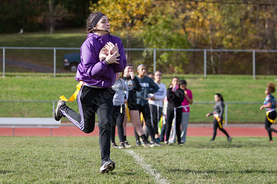 Platt's Allie Gill catches a pass Saturday during Powder Puff practice at Platt High School in Meriden November 4, 2017 | Justin Weekes / For the Record-Journal