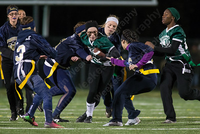 Maloney's Ariana Ortiz looks for room up the middle Monday during the Meriden Powder Puff game at Falcon Field in Meriden. Platt defeated Maloney 35 to 31. November 20, 2017 | Justin Weekes / For the Record-Journal