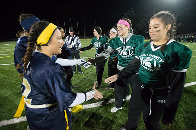 Monday during the Meriden Powder Puff game at Falcon Field in Meriden. Platt defeated Maloney 35 to 31. November 20, 2017 | Justin Weekes / For the Record-Journal