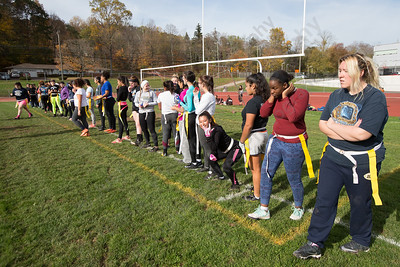 Saturday during Powder Puff practice at Platt High School in Meriden November 4, 2017 | Justin Weekes / For the Record-Journal