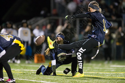 Platt's Jennifer Rita kicks the extra point Monday during the Meriden Powder Puff game at Falcon Field in Meriden. Platt defeated Maloney 35 to 31. November 20, 2017 | Justin Weekes / For the Record-Journal
