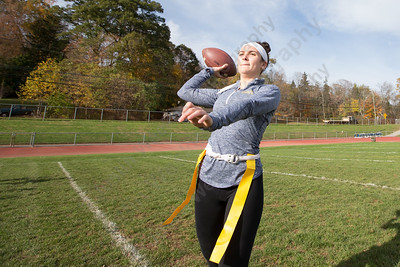 Platt's Julianne Pellegrino throws to receivers Saturday during Powder Puff practice at Platt High School in Meriden November 4, 2017 | Justin Weekes / For the Record-Journal