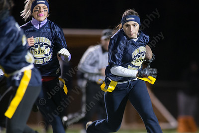 Platt's Nancy Garcia finds running room on the outside Monday during the Meriden Powder Puff game at Falcon Field in Meriden. Platt defeated Maloney 35 to 31. November 20, 2017 | Justin Weekes / For the Record-Journal