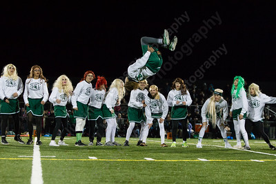 Maloney's Kamil Henderson does a flip during the half time show Monday during the Meriden Powder Puff game at Falcon Field in Meriden. Platt defeated Maloney 35 to 31. November 20, 2017 | Justin Weekes / For the Record-Journal