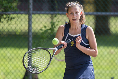 Platt's Rachel Greenberg returns a volley Thursday at Columbus Park in Meriden May. 21, 2015 | Justin Weekes / For the Record-Journal