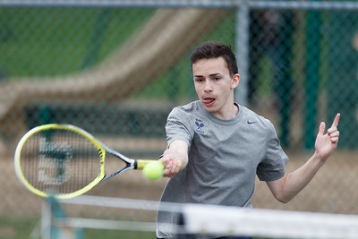 Platt's Dylan Hernandez during a doubles match Friday at Columbus Park in Meriden  May. 1, 2015 | Justin Weekes / For the Record-Journal