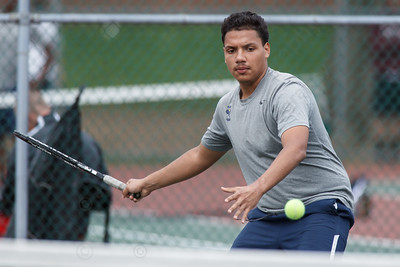 Platt's Edy Gomez eye a fore hand shot Friday at Columbus Park in Meriden  May. 1, 2015 | Justin Weekes / For the Record-Journal